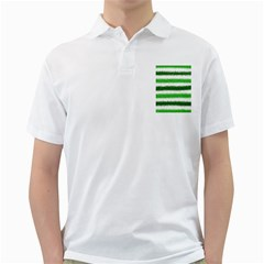 Metallic Green Glitter Stripes Golf Shirts