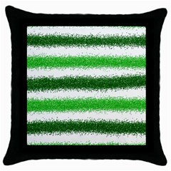 Metallic Green Glitter Stripes Throw Pillow Case (black)