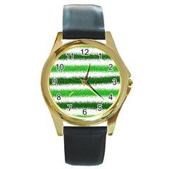 Metallic Green Glitter Stripes Round Gold Metal Watch