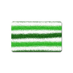 Metallic Green Glitter Stripes Magnet (name Card)