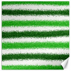 Metallic Green Glitter Stripes Canvas 12  x 12