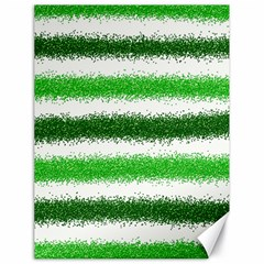 Metallic Green Glitter Stripes Canvas 18  X 24