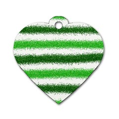 Metallic Green Glitter Stripes Dog Tag Heart (Two Sides)