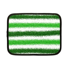 Metallic Green Glitter Stripes Netbook Case (Small)