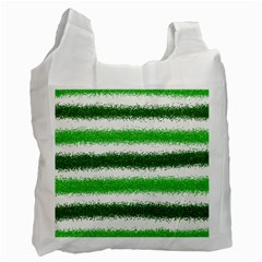 Metallic Green Glitter Stripes Recycle Bag (one Side)