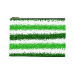 Metallic Green Glitter Stripes Cosmetic Bag (Large)