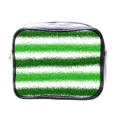 Metallic Green Glitter Stripes Mini Toiletries Bags