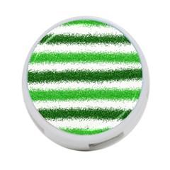 Metallic Green Glitter Stripes 4-Port USB Hub (One Side)
