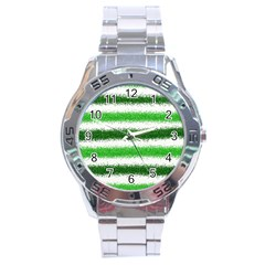 Metallic Green Glitter Stripes Stainless Steel Analogue Watch