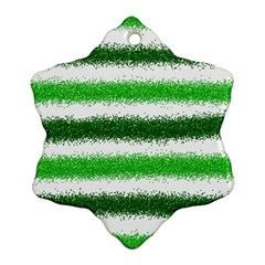 Metallic Green Glitter Stripes Ornament (Snowflake)