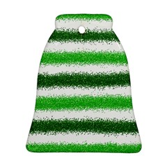 Metallic Green Glitter Stripes Bell Ornament (Two Sides)