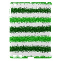 Metallic Green Glitter Stripes Apple Ipad 3/4 Hardshell Case (compatible With Smart Cover)