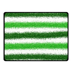 Metallic Green Glitter Stripes Double Sided Fleece Blanket (Small)