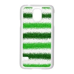 Metallic Green Glitter Stripes Samsung Galaxy S5 Case (white)