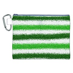 Metallic Green Glitter Stripes Canvas Cosmetic Bag (XXL)
