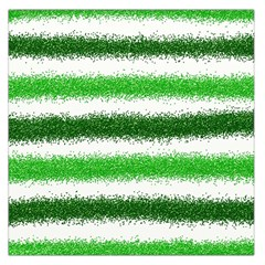Metallic Green Glitter Stripes Large Satin Scarf (square)