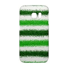 Metallic Green Glitter Stripes Galaxy S6 Edge