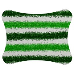 Metallic Green Glitter Stripes Jigsaw Puzzle Photo Stand (Bow)