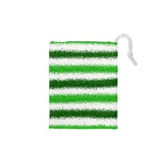 Metallic Green Glitter Stripes Drawstring Pouches (XS)