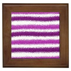 Metallic Pink Glitter Stripes Framed Tiles