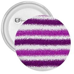 Metallic Pink Glitter Stripes 3  Buttons