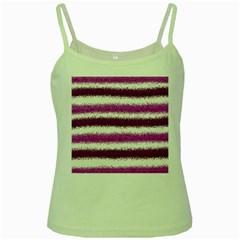 Metallic Pink Glitter Stripes Green Spaghetti Tank