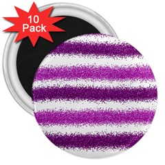 Metallic Pink Glitter Stripes 3  Magnets (10 pack)