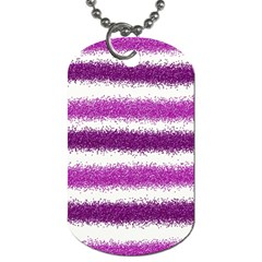 Metallic Pink Glitter Stripes Dog Tag (One Side)