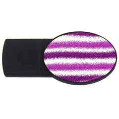 Metallic Pink Glitter Stripes Usb Flash Drive Oval (2 Gb)
