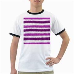 Metallic Pink Glitter Stripes Ringer T Shirts