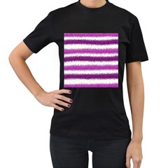 Metallic Pink Glitter Stripes Women s T-Shirt (Black) (Two Sided)