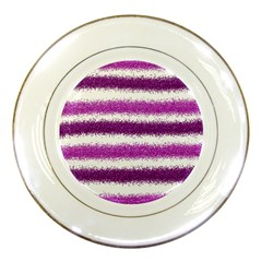 Metallic Pink Glitter Stripes Porcelain Plates