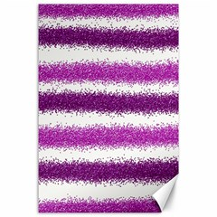 Metallic Pink Glitter Stripes Canvas 24  x 36