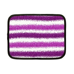 Metallic Pink Glitter Stripes Netbook Case (Small)