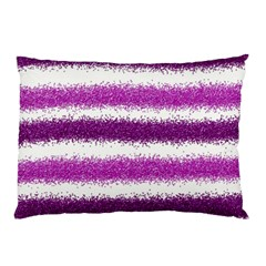 Metallic Pink Glitter Stripes Pillow Case