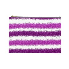 Metallic Pink Glitter Stripes Cosmetic Bag (Large)