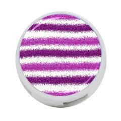Metallic Pink Glitter Stripes 4-Port USB Hub (Two Sides)