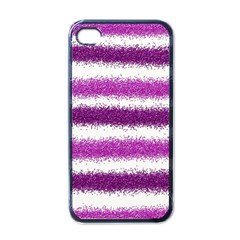 Metallic Pink Glitter Stripes Apple iPhone 4 Case (Black)