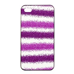 Metallic Pink Glitter Stripes Apple iPhone 4/4s Seamless Case (Black)