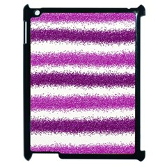 Metallic Pink Glitter Stripes Apple iPad 2 Case (Black)