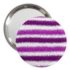 Metallic Pink Glitter Stripes 3  Handbag Mirrors