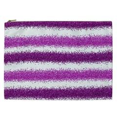Metallic Pink Glitter Stripes Cosmetic Bag (XXL)