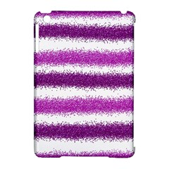 Metallic Pink Glitter Stripes Apple iPad Mini Hardshell Case (Compatible with Smart Cover)