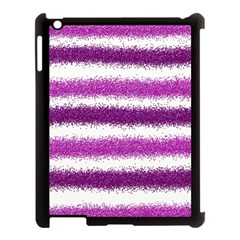 Metallic Pink Glitter Stripes Apple Ipad 3/4 Case (black)