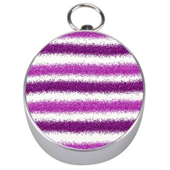 Metallic Pink Glitter Stripes Silver Compasses