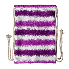 Metallic Pink Glitter Stripes Drawstring Bag (Large)