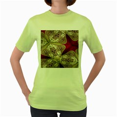 Morocco Motif Pattern Travel Women s Green T-Shirt