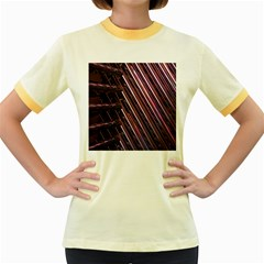 Metal Tube Chair Stack Stacked Women s Fitted Ringer T-Shirts