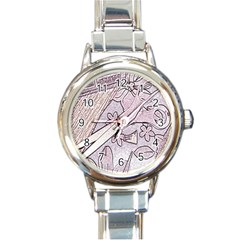 Newspaper Patterns Cutting Up Fabric Round Italian Charm Watch