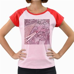 Newspaper Patterns Cutting Up Fabric Women s Cap Sleeve T-Shirt